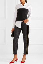 Victoria, Victoria Beckham Satin-trimmed cropped mid-rise straight-leg jeans