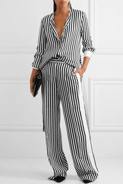 Victoria, Victoria Beckham Striped satin-twill wide-leg pants