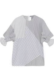 Paneled striped cotton-poplin top