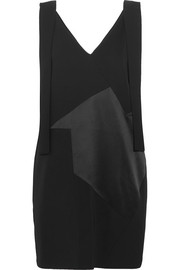 Victoria, Victoria Beckham Paneled twill, satin and crepe mini dress