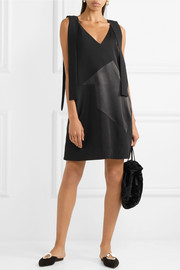 Paneled twill, satin and crepe mini dress