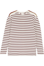 Victoria, Victoria Beckham Grosgrain-trimmed striped cotton-jersey top