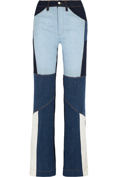 Patchwork High-rise Wide-leg Jeans - Mid denim Victoria Beckham Largest Supplier Outlet Buy Low Price Fee Shipping Cheap Price Clearance Outlet Store qo1GEi7LP