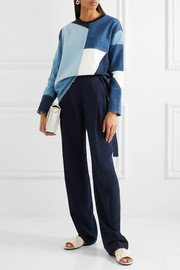 Victoria, Victoria Beckham Frayed patchwork denim sweater