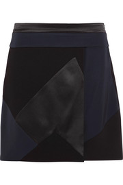 Victoria, Victoria Beckham Patchwork silk-satin, twill and wool-crepe mini skirt