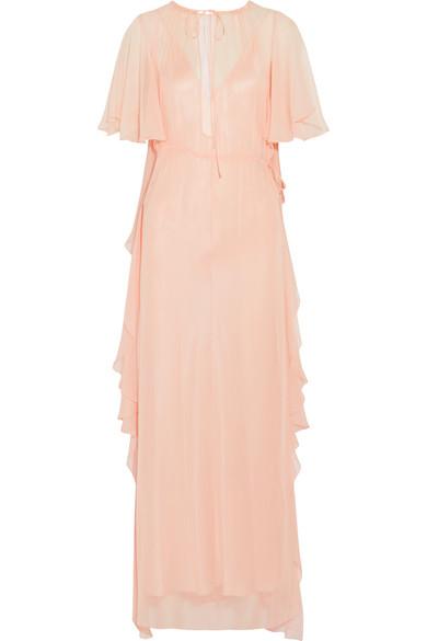 Juan Carlos Obando - Ruffled Silk-chiffon Gown - Peach