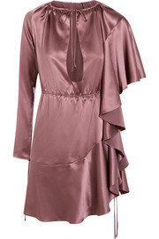 Asymmetric ruffled silk-satin mini dress