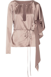 Ruffled asymmetric silk-satin top