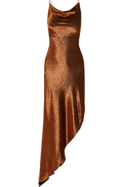 Asymmetric metallic stretch silk-blend maxi dress