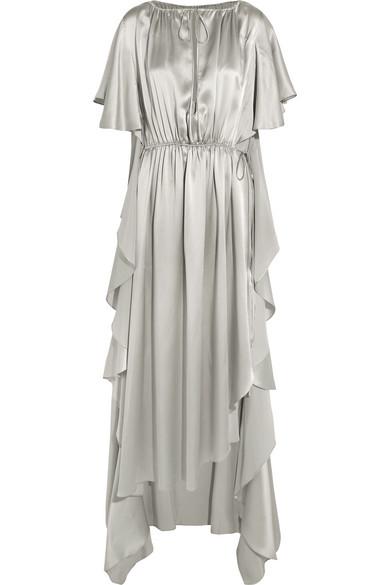 Juan Carlos Obando - Asymmetric Ruffled Silk-satin Gown - Light gray