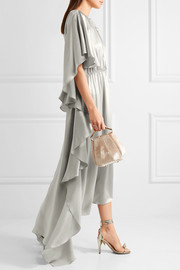 Asymmetric ruffled silk-satin gown