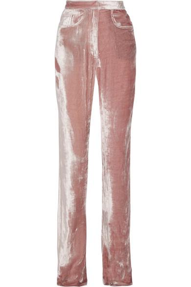 Juan Carlos Obando - Velvet Straight-leg Pants - Antique rose