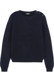Joelle button-detailed ribbed wool-blend sweater