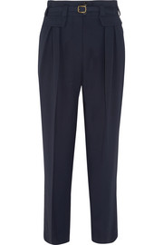Isa belted twill straight-leg pants