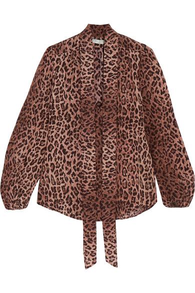 RIXO London Moss Bluse aus Seiden-Jacquard mit Leopardenprint und Schluppe