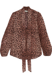 RIXO London Moss pussy-bow leopard-print silk blouse