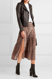 Georgia pleated leopard-print silk skirt