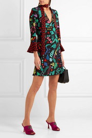 Lulu printed silk mini dress