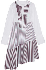 Carven Asymmetric paneled striped cotton-poplin midi dress