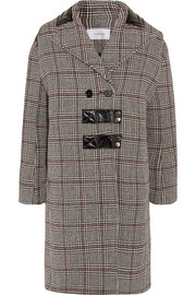 Carven Patent leather-trimmed checked wool-blend coat