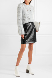 Carven Patent textured-leather mini skirt