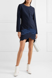 Carven Satin-paneled crepe mini dress