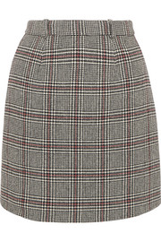 Carven Checked wool-blend mini skirt