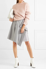 Carven Draped wool and striped satin-twill mini skirt