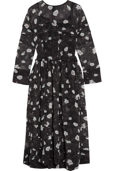 Printed Tiered Voile Midi Dress - Black Carven NLjJZ