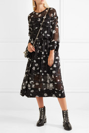 Printed tiered voile midi dress