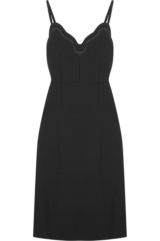 Black Satin Trimmed Crepe Dress Carven Net A Porter