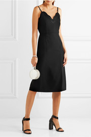 Carven Satin-trimmed crepe dress
