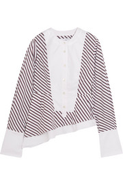 Carven Asymmetric stripe-paneled cotton blouse