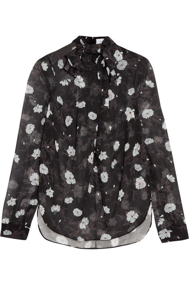 Carven - Pussy-bow Floral-print Chiffon Blouse - Black
