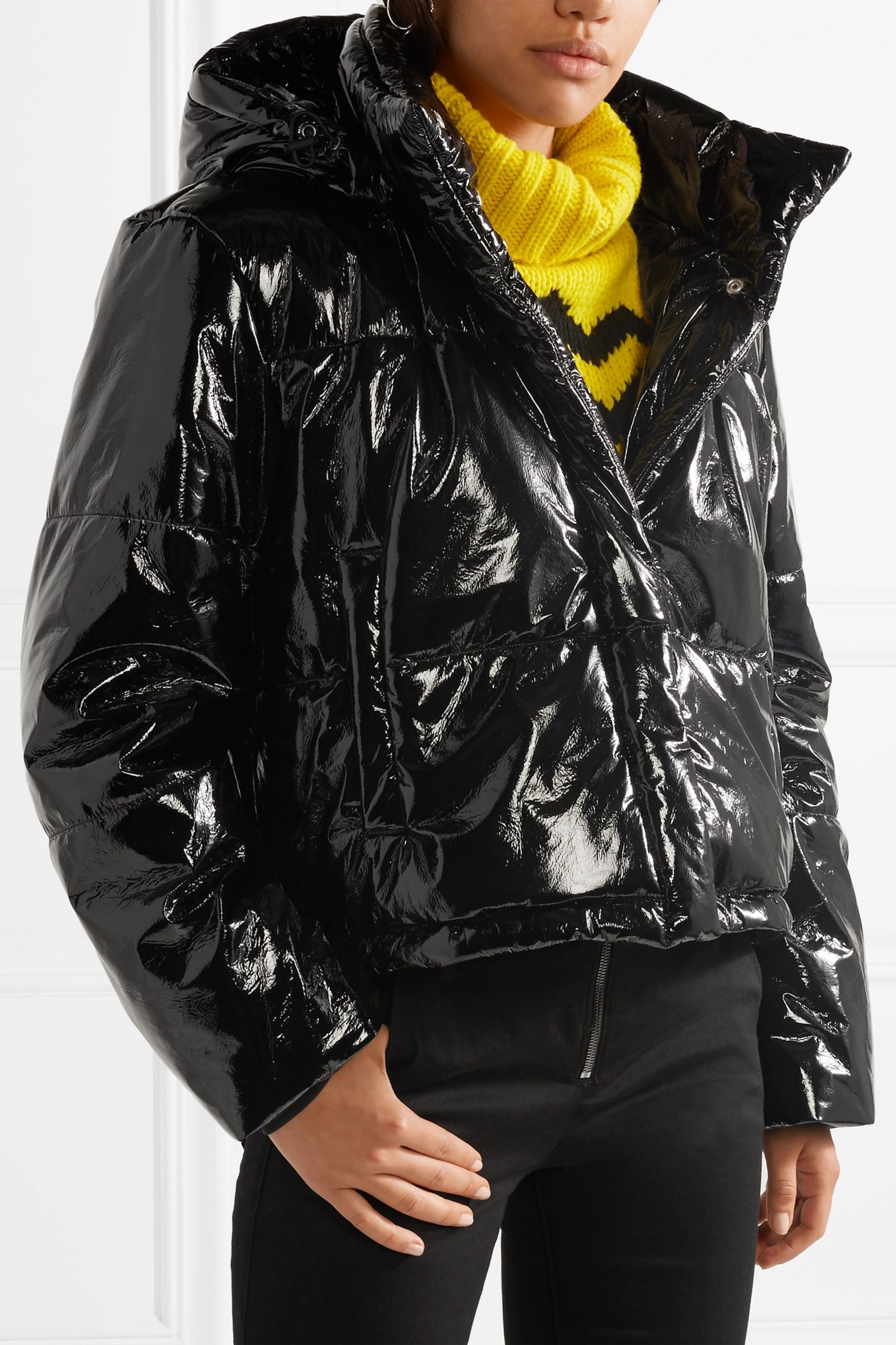 MSGM Hooded quilted PVC  jacket