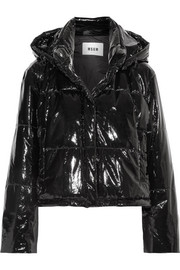 Hooded quilted PVC  jacket