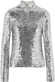 Sequined tulle turtleneck top