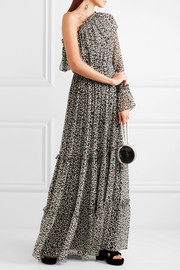 One-shoulder printed silk-chiffon maxi dress
