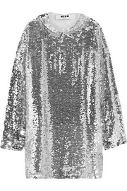MSGM Sequined tulle hooded top