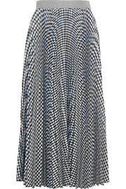 Checked pleated crepe midi skirt