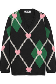 MSGM Intarsia wool-blend sweater