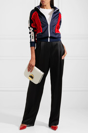 Color-block ruffled tech-jersey jacket