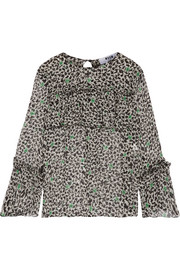 MSGM Ruffled printed silk-chiffon blouse