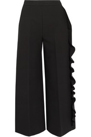 MSGM Ruffled crepe wide-leg pants