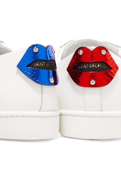 ba94452bfa7 SAINT LAURENT. Court Classic metallic snake-trimmed leather sneakers.  £357.00. Zoom In