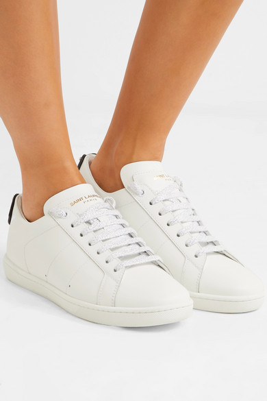 c24c41a3507 SAINT LAURENT. Court Classic metallic snake-trimmed leather sneakers