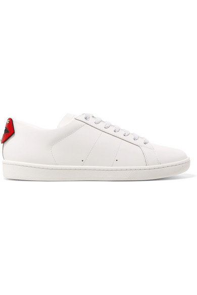 Court Classic Metallic Snake-trimmed Leather Sneakers - White Saint Laurent 2rPKAUf4
