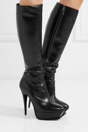Saint Laurent Tribute leather platform knee boots