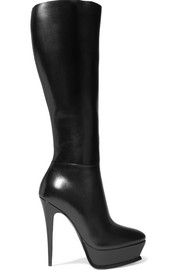 Tribute leather platform knee boots