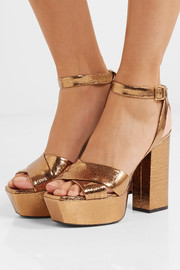 Saint Laurent Farrah metallic cracked-leather platform sandals